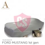 Ford Mustang I 1964-1967 Indoor Autohoes - Zilvergrijs met Pony opdruk