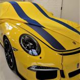 Porsche 911R 991 Autohoes - Maatwerk - Spiegelzakken - Geel/Blauw